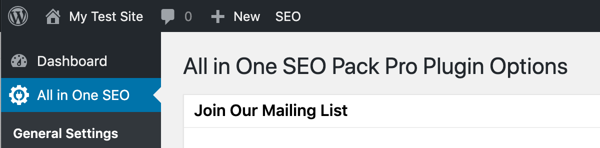 All in One SEO Pack tab in Toolbar