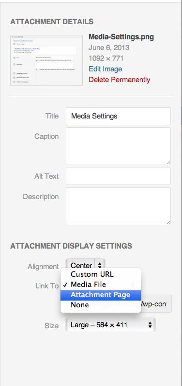 Media Upload settings in WordPress