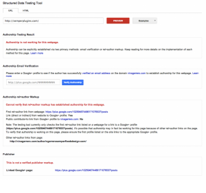 Authorship errors as shown in Google Rich Snippets Testing Tool