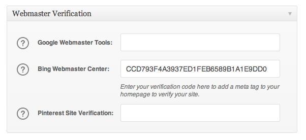 Webmaster Verification box in All in One SEO Pack