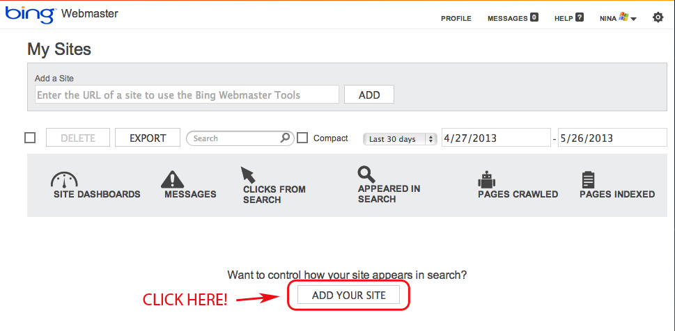Add your site to Bing Webmaster Tools