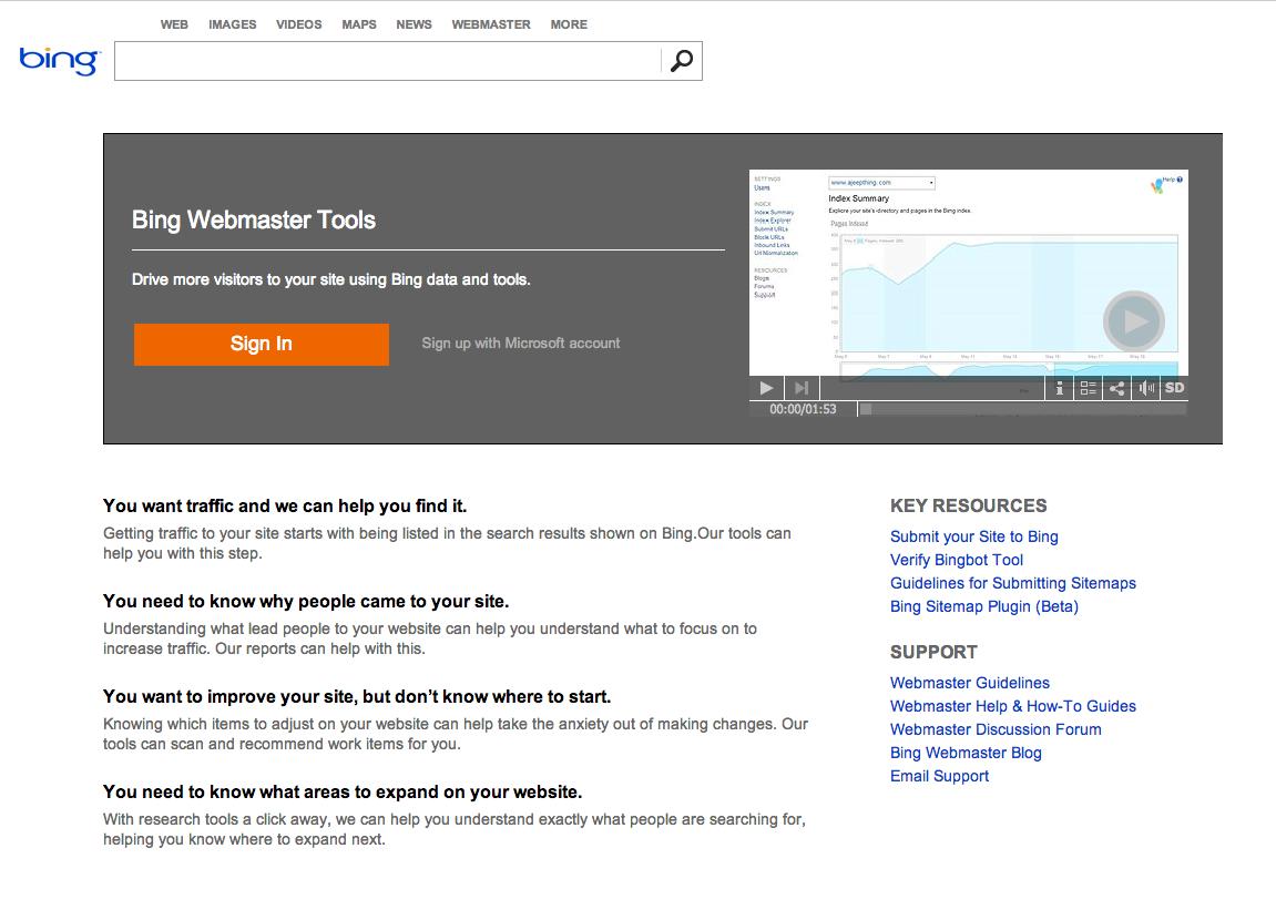 Bing Webmaster Tools homepage