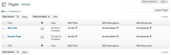Page Screen with All in One SEO Pack Columns