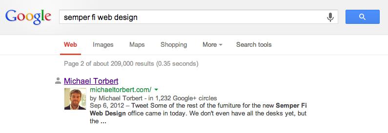 Google Plus profile in Google search results