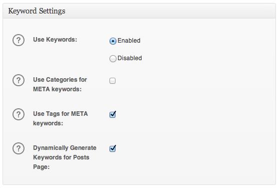 Keyword Settings box in All in One SEO Pack