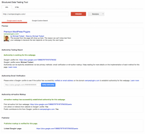 Successful authorship verification as shown in Google Rich Snippets Testing Tool