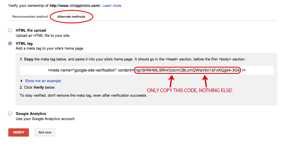 Google Webmaster Tools meta tag