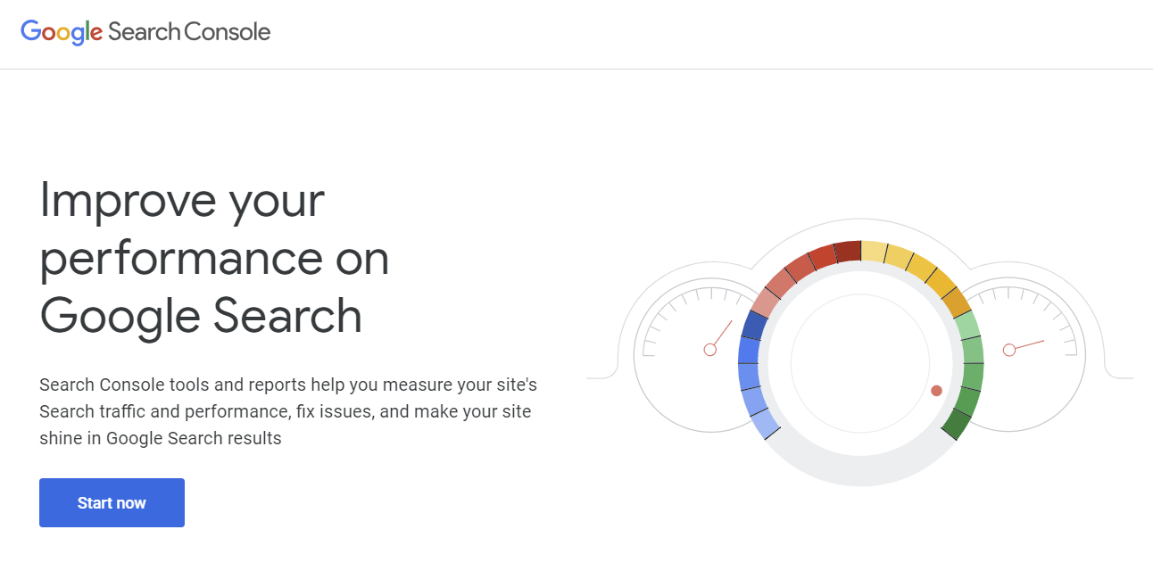 Homepage of Google Search Console.