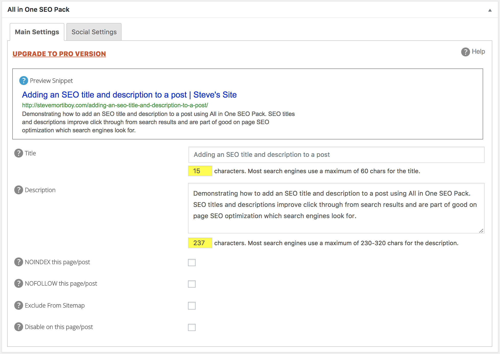 Post/Page Settings box in All in One SEO Pack