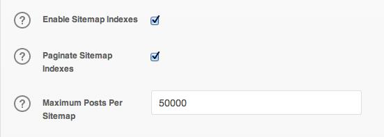 XML Sitemap Indexes options