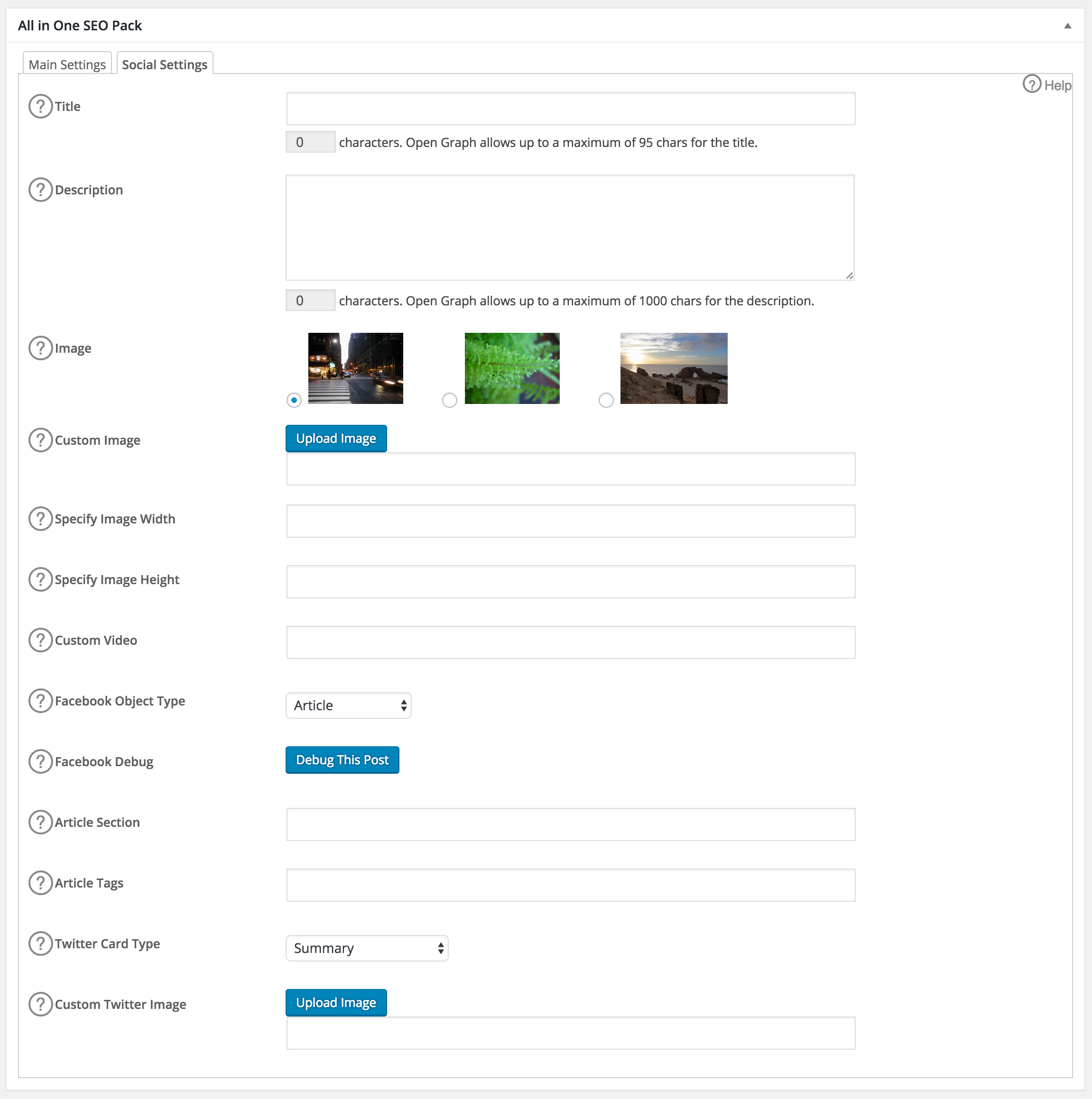 Social Settings box in All in One SEO Pack