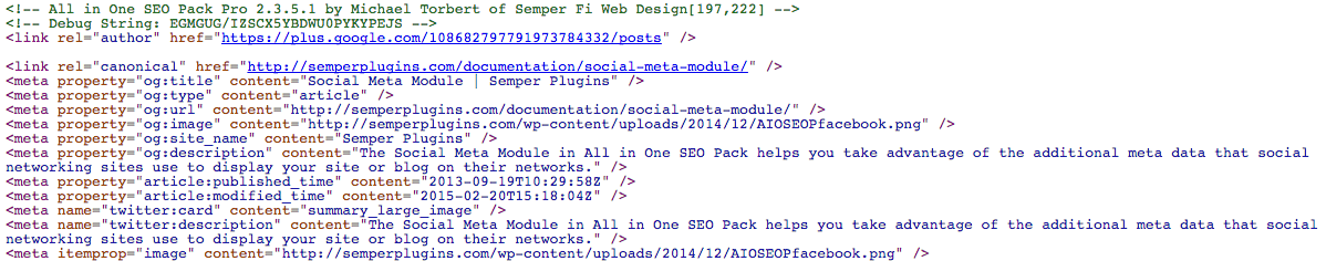 Example Open Graph meta output by All in One SEO Pack