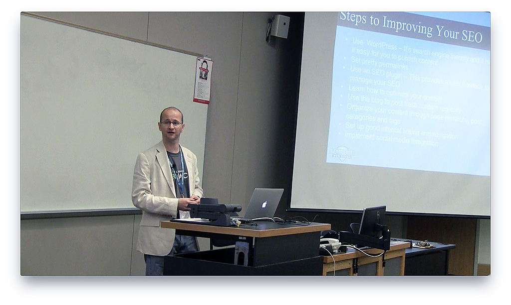 Photo of Steve Mortiboy presenting at WordCamp Raleigh 2015