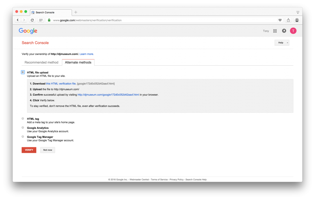 Google Search Console HTML File Upload Method
