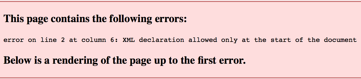 xml parsing error this page contains the following errors semper