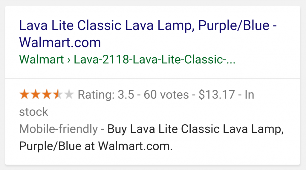 Google rich snippet example