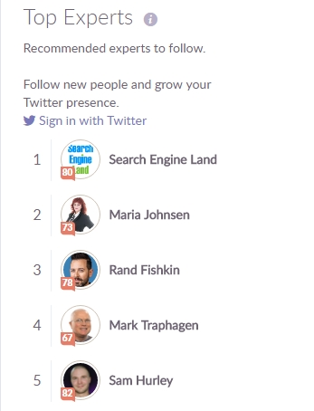 These, for example, are top 5 influencers for SEO.