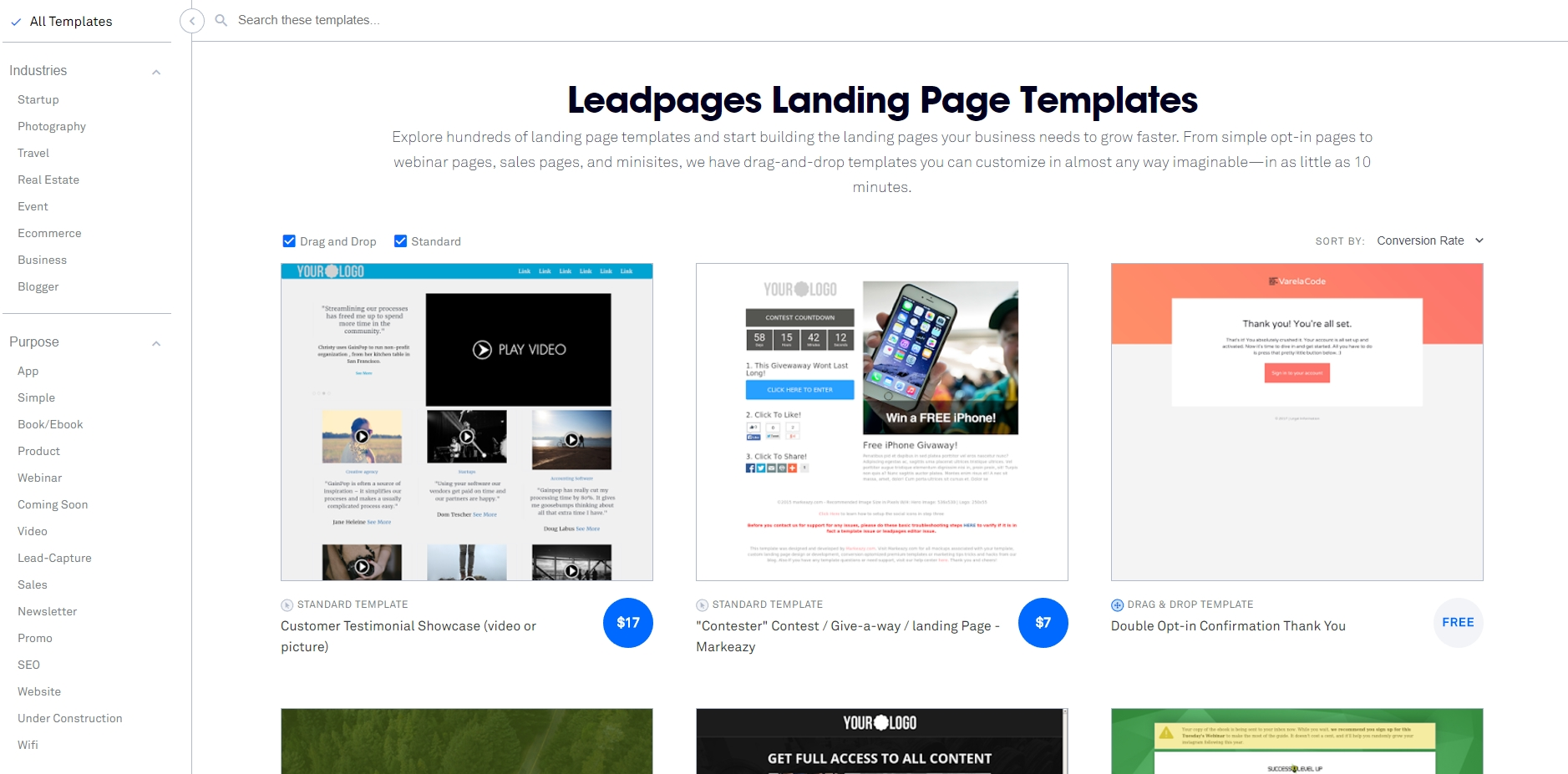 Leadpages has more than a hundred of templates to choose from that can be added to your site within minutes.