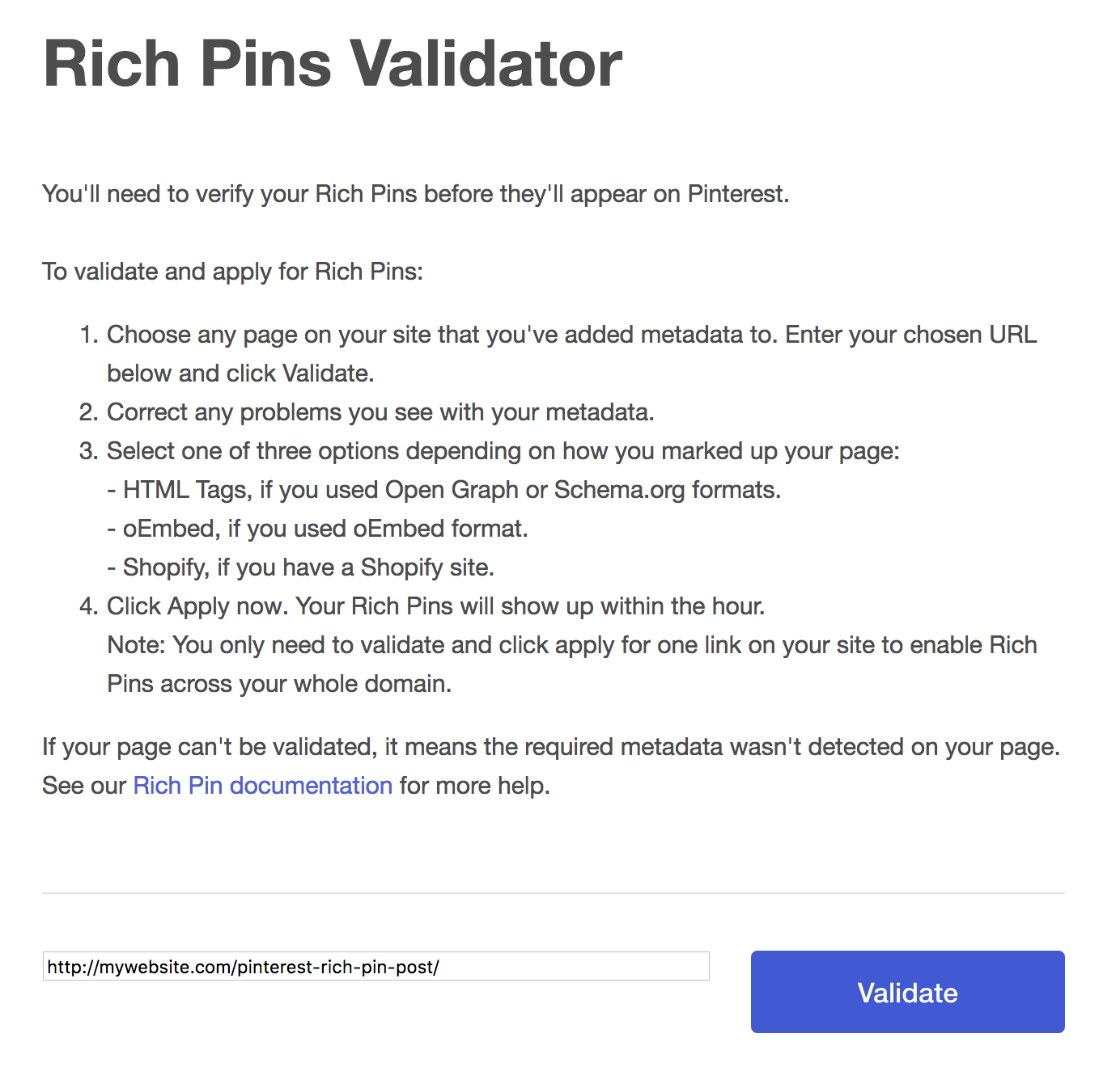 Validating Rich Pins on Pinterest
