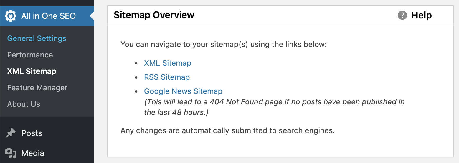 Sitemap Overview in All in One SEO