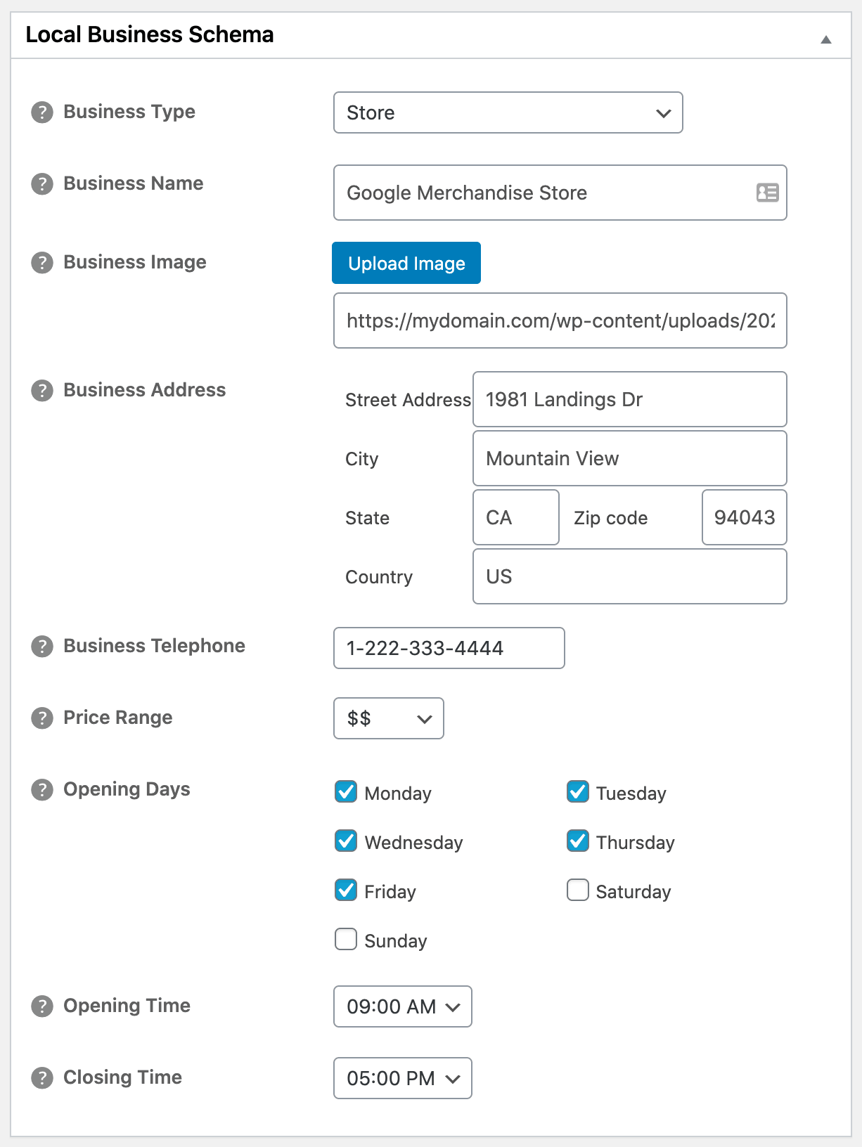 Local Business Schema settings in All in One SEO